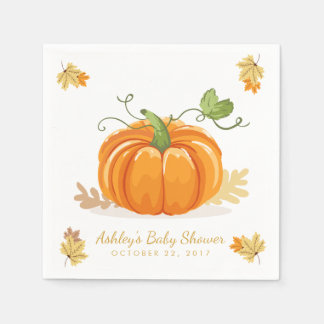 Little Pumpkin Paper Napkin Fall baby shower Leave