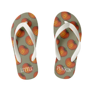 Little Punkin Pumpkin Autumn Gift Orange Pumpkins Kid's Flip Flops