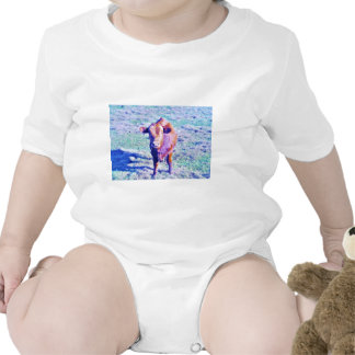 Little Purple Cow in Pasetl teal grass Romper