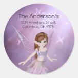 Little Purple Fairy Address Labels/Stickers Round Sticker