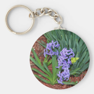 Little purple flowers basic round button key ring