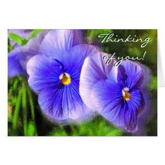 Little Purple Pansies Note Card; Frosted Pansies Card