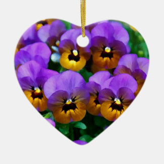 Little Purple Pansies Trimmed in Yellow Gold Christmas Ornament