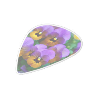 Little Purple Pansies Trimmed in Yellow Gold White Delrin Guitar Pick