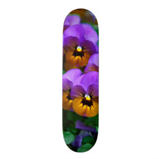 Little Purple Pansies Trimmed in Yellow Gold Skate Board