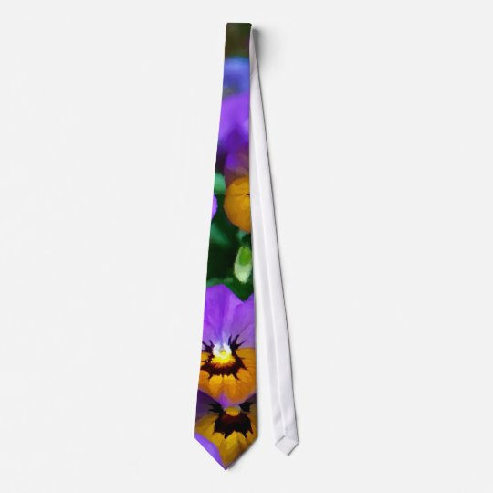 Little Purple Pansies Trimmed in Yellow Gold Tie