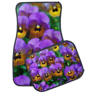 Little Purple Pansies Trimmed in Yellow Gold Floor Mat