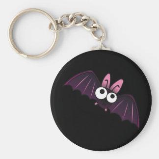 LITTLE PURPLE & PINK BIG-EYED BAT BASIC ROUND BUTTON KEY RING