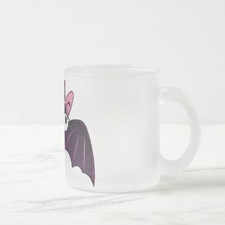 LITTLE PURPLE & PINK BIG-EYED BAT 10 OZ FROSTED GLASS COFFEE MUG