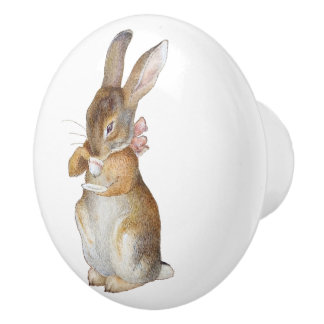 Little Rabbit Baby Nursery Children Kids Ceramic Knob