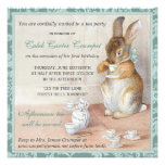 Little Rabbit Birthday Party Invitation Green