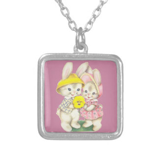 Little rabbits silver plated necklace