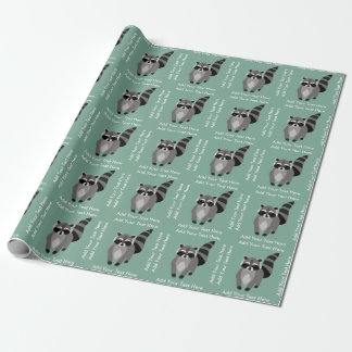 Little Raccoon Rascal Personalized Custom Color Wrapping Paper