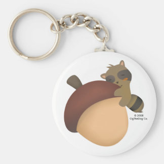 Little Racoon White Classic Keychain