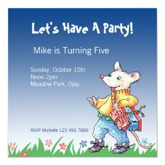 """Little Rat with Accordeon Blue Invitation... 5.25"""" Square Invitation Card"""