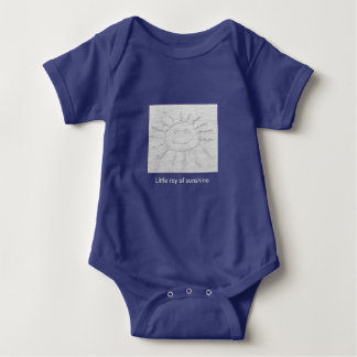 Little ray of sunshine smiley face drawing on sand baby bodysuit