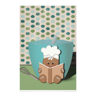 Little Recipe Reading Gingerbread with Mixing Bowl Personalised Stationery