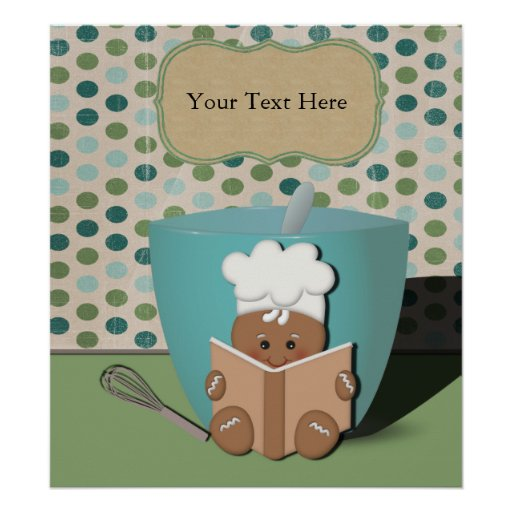 Little Recipe Reading Gingerbread with Mixing Bowl Poster