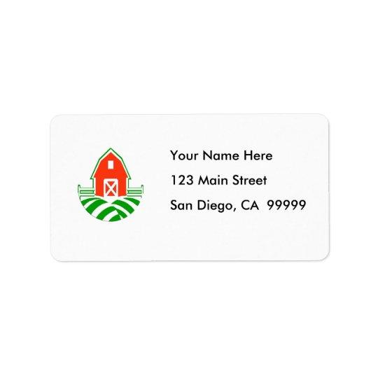 Little Red Barn on the Farm Address Label