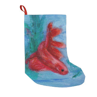 Little Red Betta Fish Small Christmas Stocking