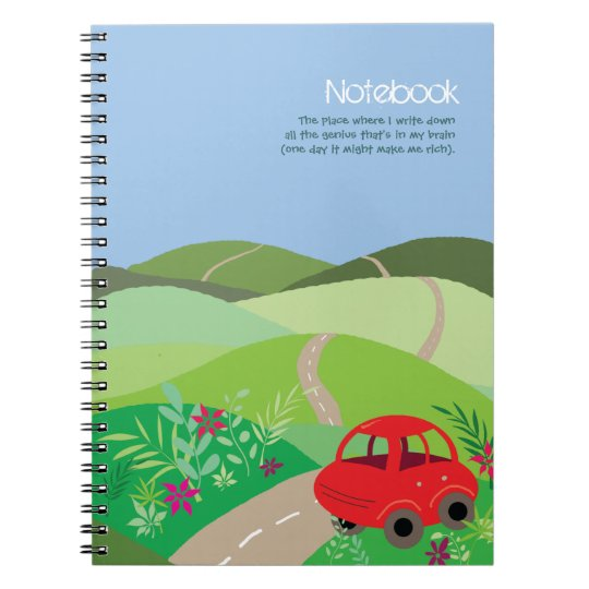 Little red car in rolling hills notebook