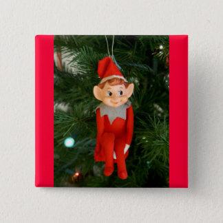 Little red elf 15 cm square badge