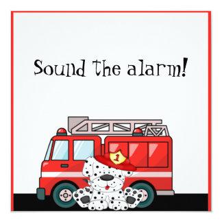 Little Red Fire Truck, Dalmatian Birthday 13 Cm X 13 Cm Square Invitation Card