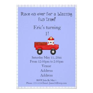 Little Red Fire Truck, Dalmatian Birthday 13 Cm X 18 Cm Invitation Card