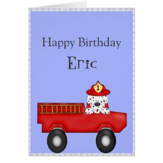 Little Red Fire Truck, Dalmatian Birthday Card