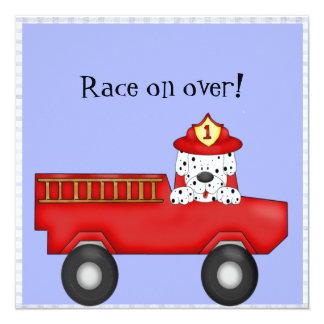 Little Red Fire Truck, Dalmatian Birthday 5.25x5.25 Square Paper Invitation Card