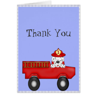 Little Red Fire Truck, Dalmatian Birthday Note Card