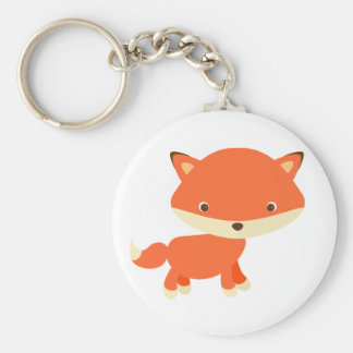 Little red fox basic round button key ring
