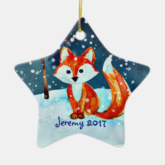 Little Red Fox in Snow Ceramic Star Decoration