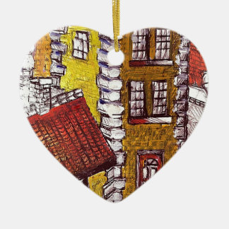 Little Red House Ceramic Heart Decoration