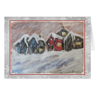 Little Red House in the Snow Art Card