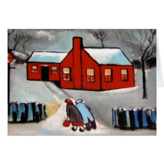 LITTLE RED HOUSE SNOW SCENE GREETING CARD