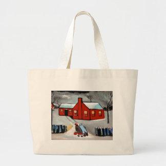 LITTLE RED HOUSE SNOW SCENE JUMBO TOTE BAG