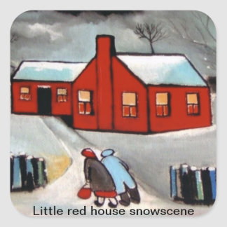 LITTLE RED HOUSE SNOW SCENE.STICKERS