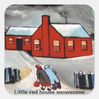 LITTLE RED HOUSE SNOW SCENE.STICKERS SQUARE STICKER