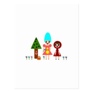 Little Red Riding Hood and Grandma Among the Flowe Postcard