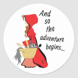 Little Red Riding Hood and Her Wolf Pup Round Sticker