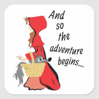 Little Red Riding Hood and Her Wolf Pup Square Sticker