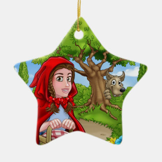 Little Red Riding Hood and Wolf Scene Christmas Ornament