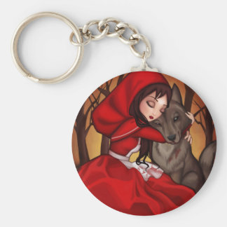 Little Red Riding Hood Basic Round Button Key Ring