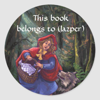 Little Red Riding Hood Bookplate Round Stickers