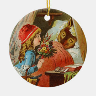 Little Red Riding Hood by Carl Offterdinger Round Ceramic Decoration