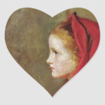 Little Red Riding Hood  by John Everett Millais Heart Sticker