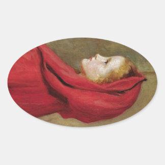 Little Red Riding Hood  by John Everett Millais Oval Sticker
