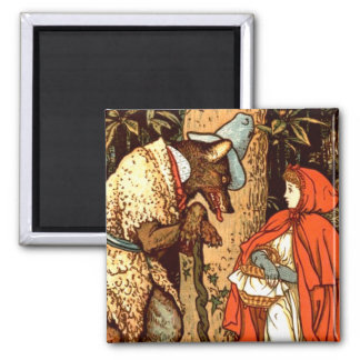 Little Red Riding Hood Fantasy Fairy Tale Square Magnet