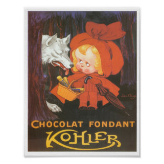 Little Red Riding Hood French ad Chocolate Poster